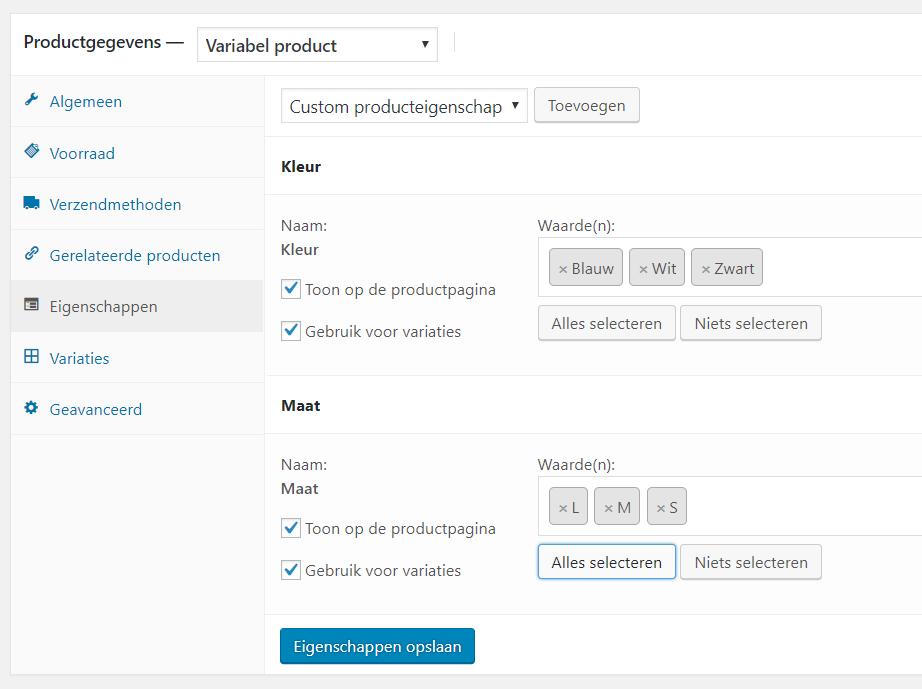 Een product met variabelen toevoegen in WooCommerce webshop