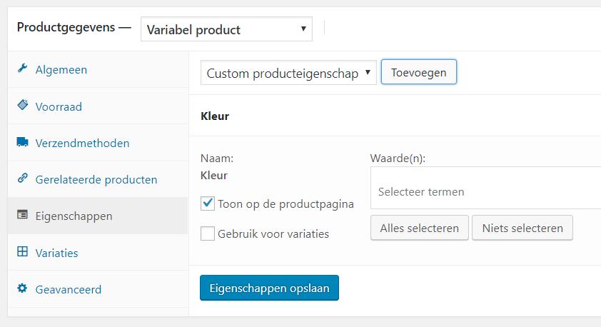variabel product toevoegen in WooCommerce