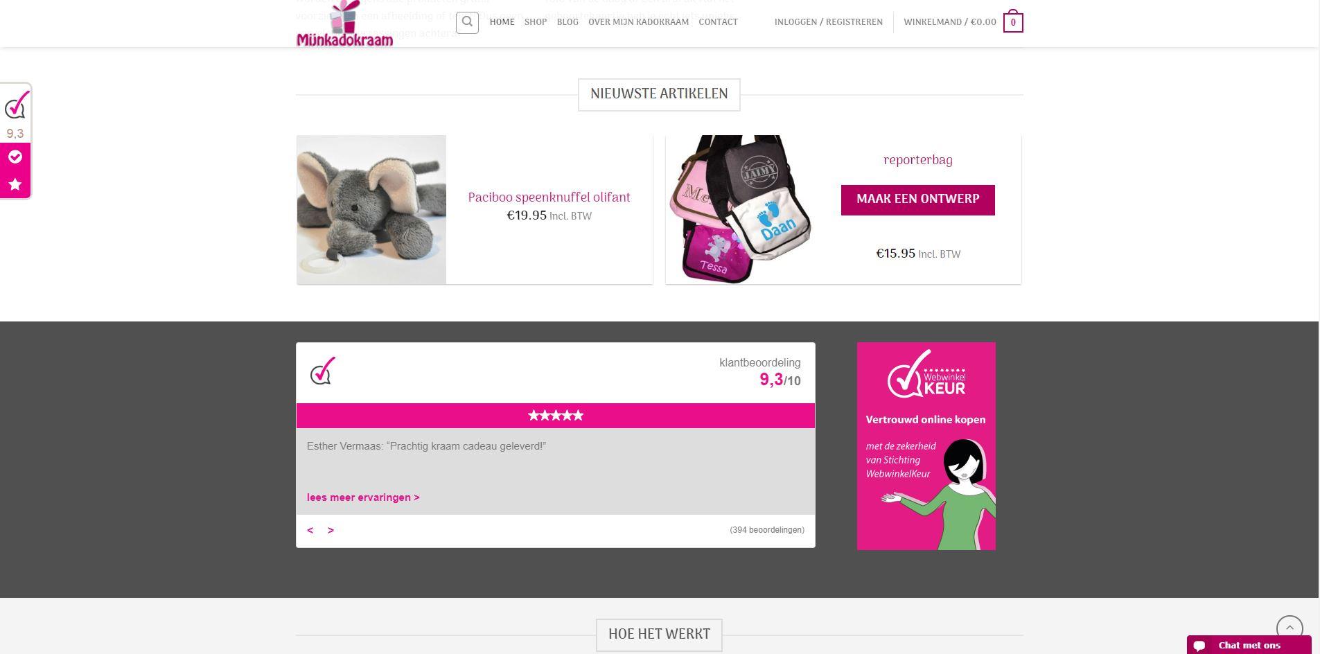 Webshop Mijn Kadokraam in WordPress met WooCommerce