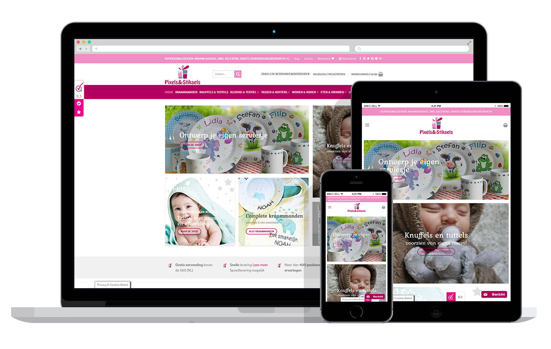 responsive webshop voor kraam cadeaus met naam