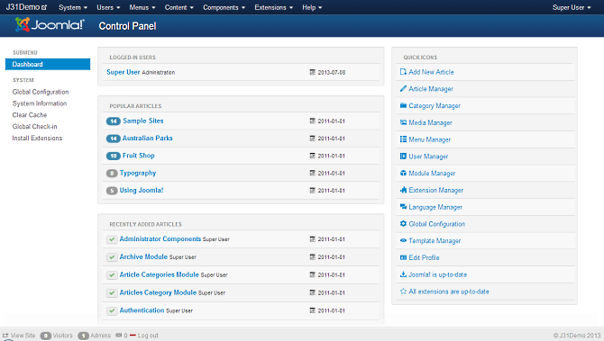 Joomla backend