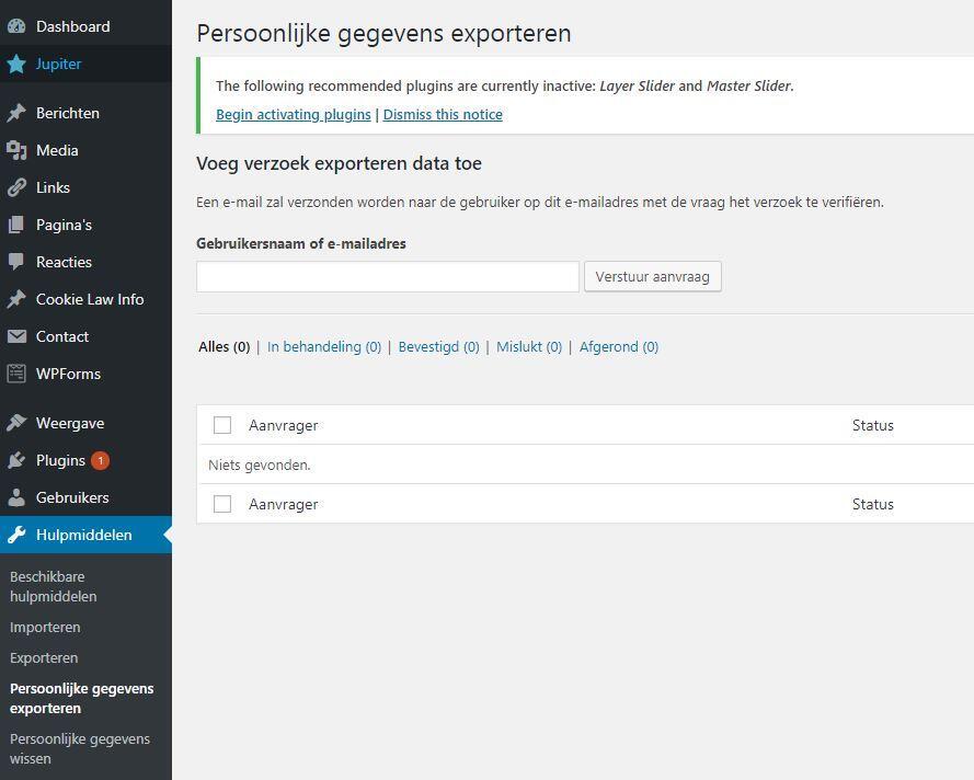 WordPress 4.9.6. Persoonlijke data opvragen