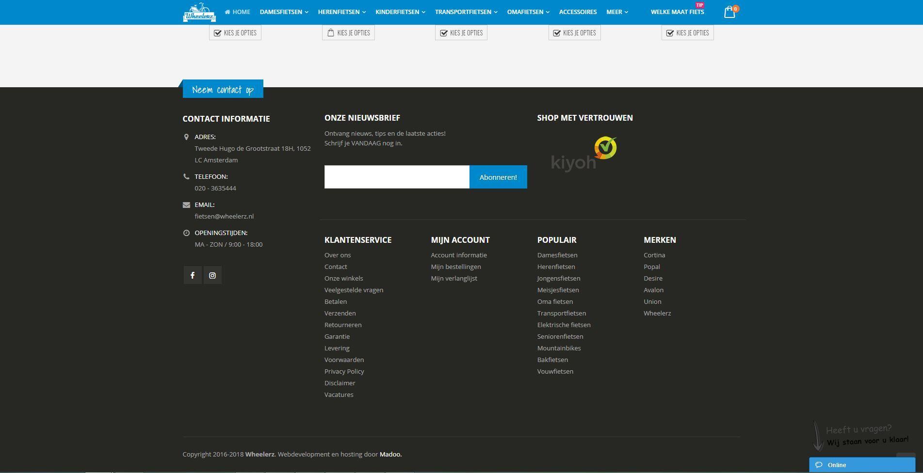 WooCommerce webshop voor Wheelerz fietsen Amsterdam