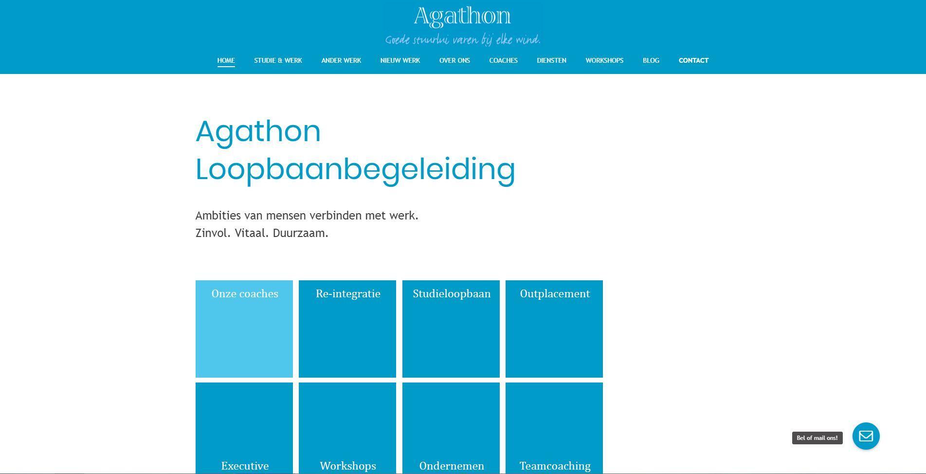 website voor Agathon Loopbaanbegeleiding
