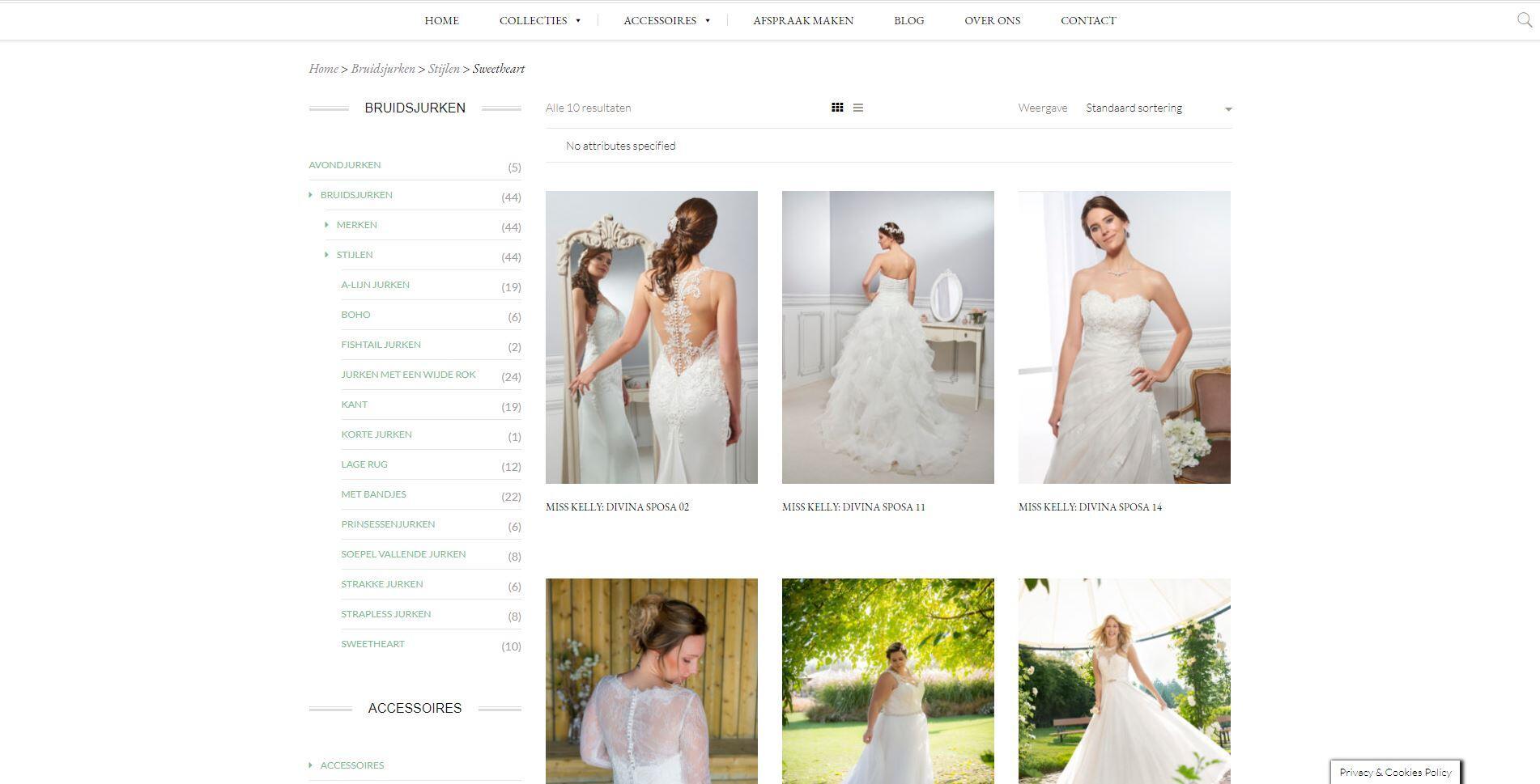 webshop laten maken voor een bruidsmode zaak