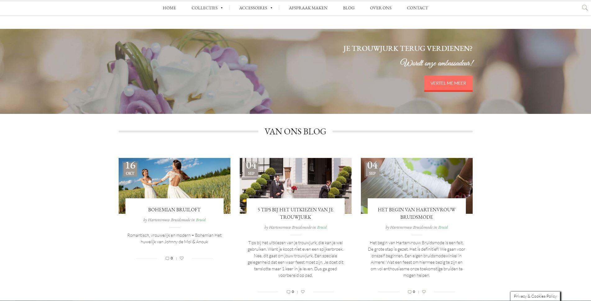 website laten maken voor een bruidsmode zaak