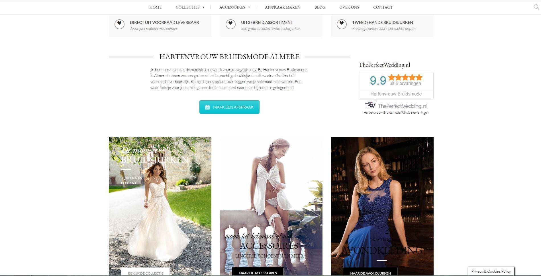 website voor een bruidsmode zaak