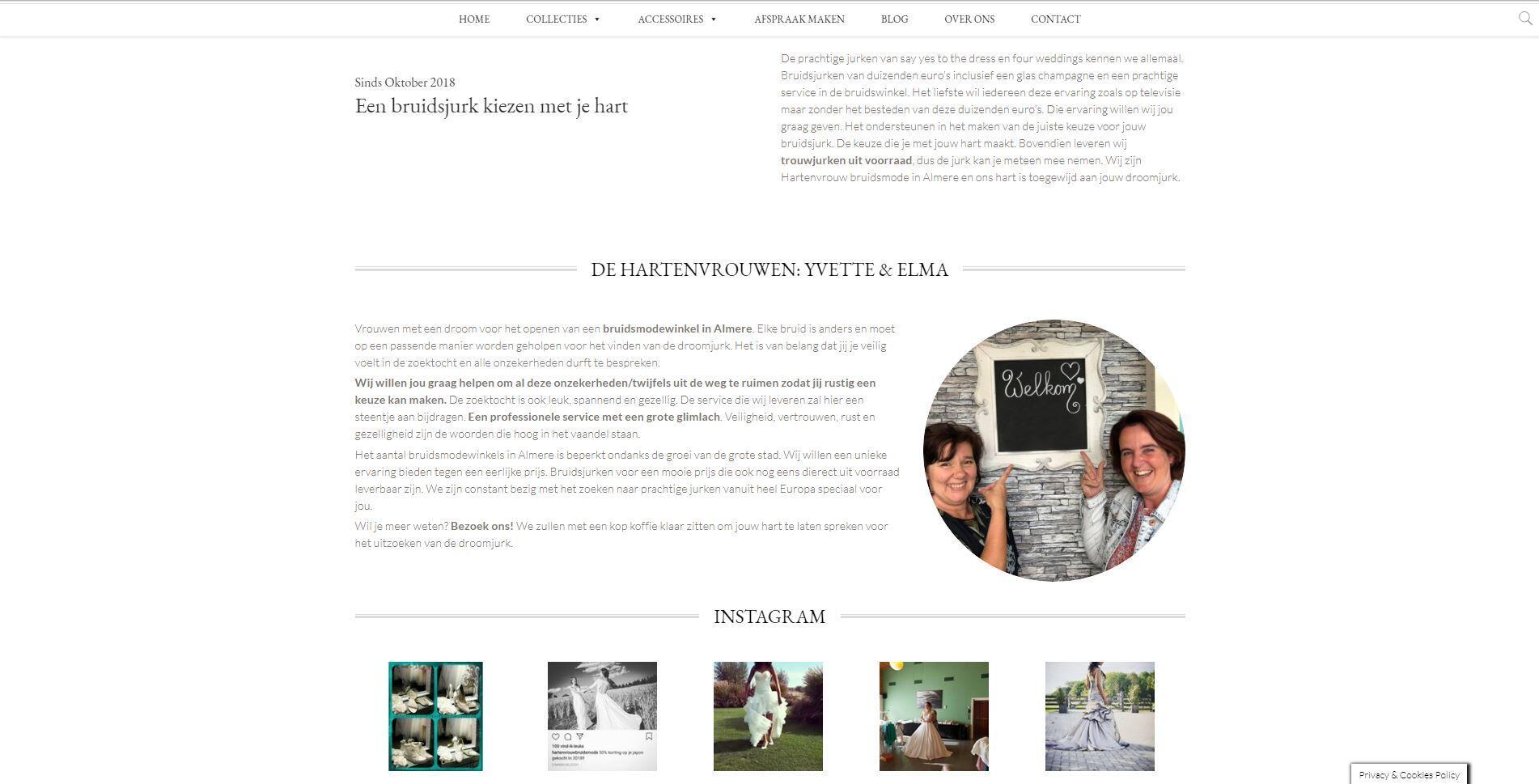 website voor hartenvrouw bruidsmode almere
