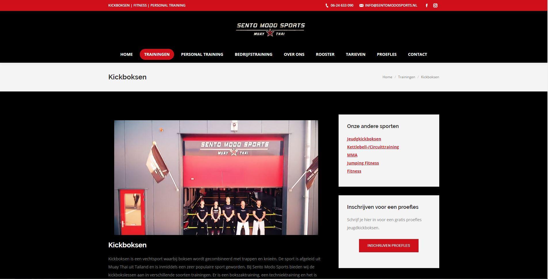 wordpress website voor kickboks school