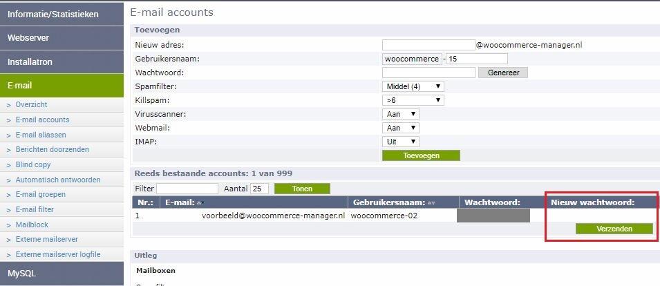 wachtwoord emailaccount aanpassen in satserver