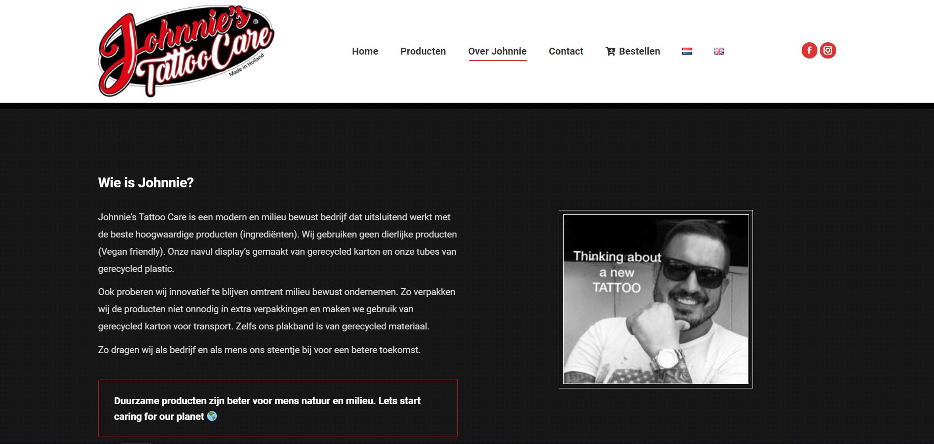 wordpress website laten maken voor johnnie's tattoo care