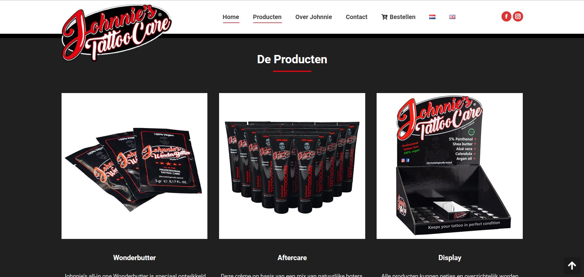 Wordpress webiste voor verzorgings producten