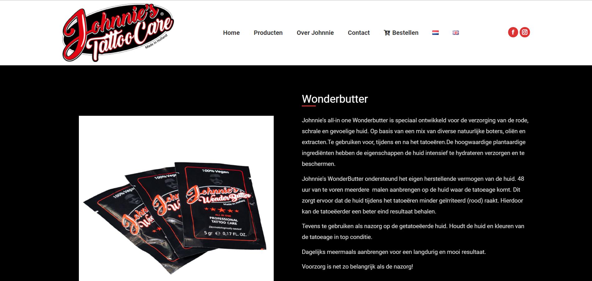Wondverzorging producten wordpress website