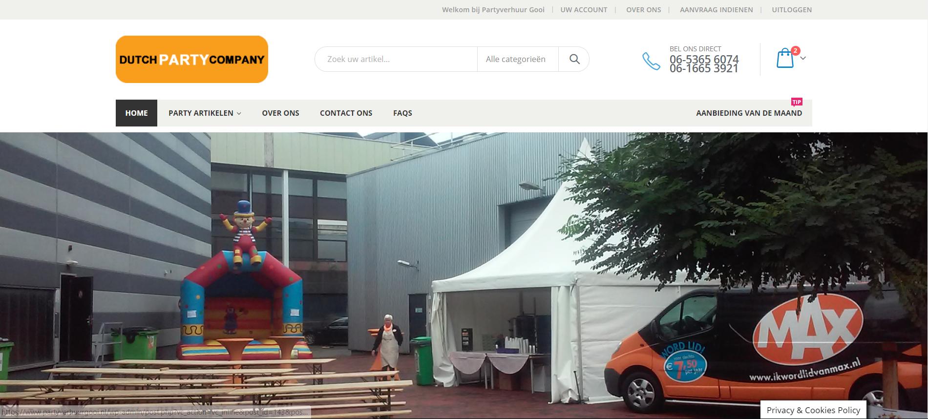 website voor party verhuurbedrijf