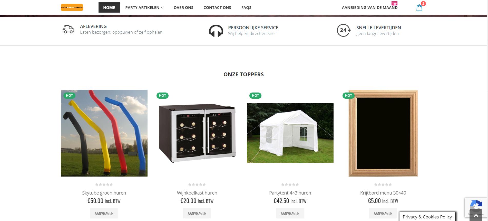 website laten maken voor party verhuurbedrijf