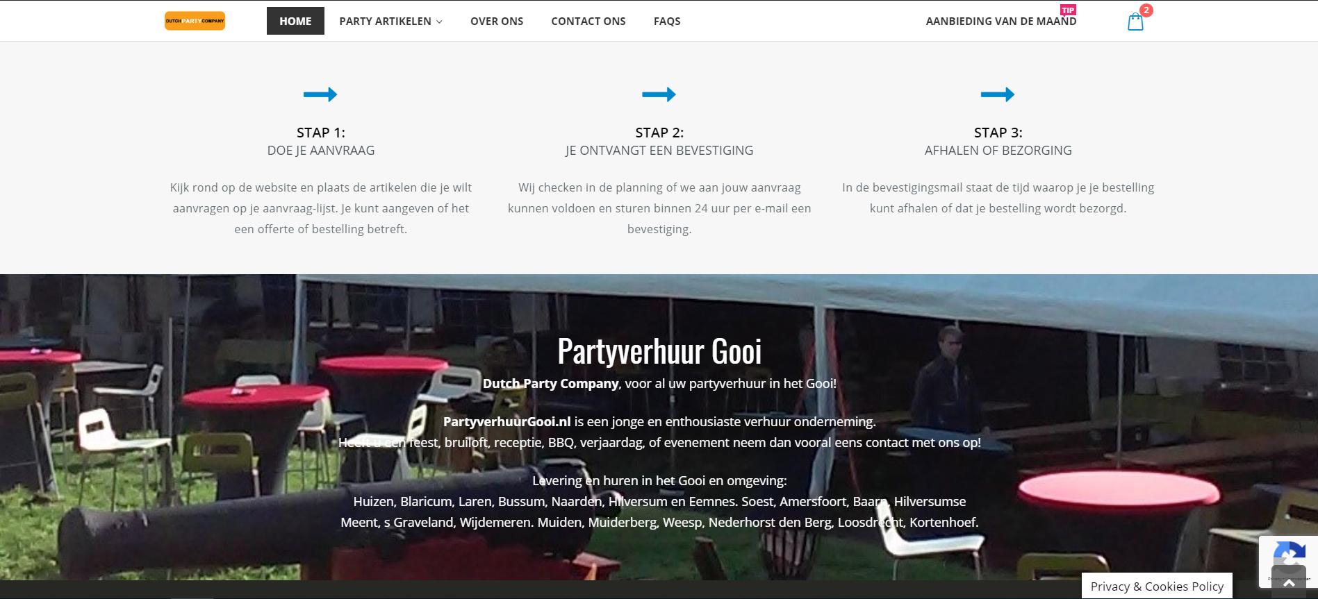 webshop voor party verhuurbedrijf