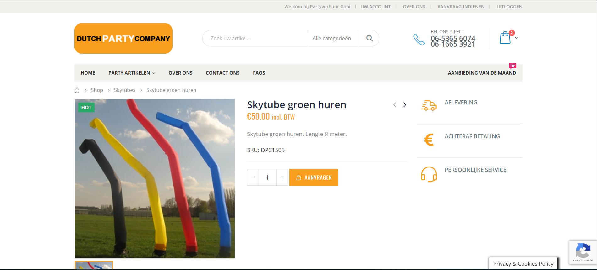webshop in woocommerce voor party verhuurbedrijf