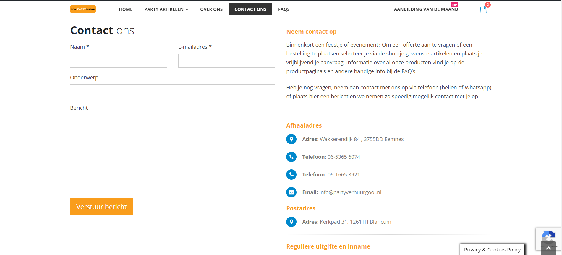 wordpress website voor verhuurbedrijf