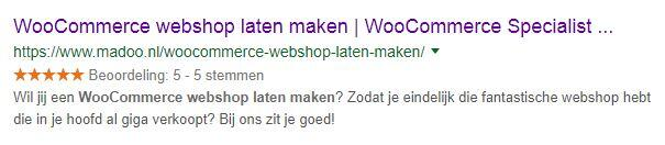 sterren in google rich snippets