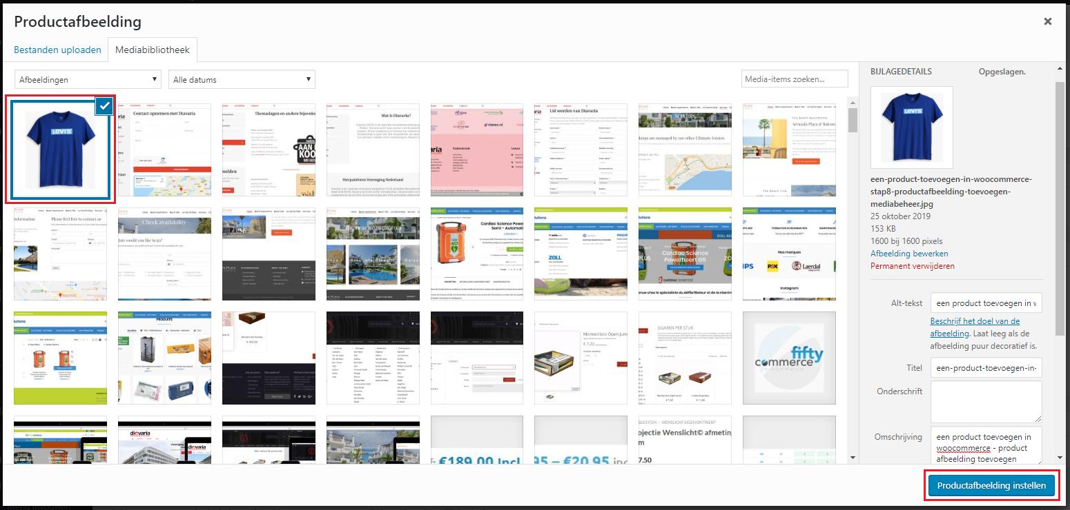 een product toevoegen in woocommerce stap8 productafbeelding toevoegen vanuit mediabeheer